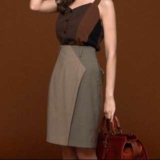 茂木太太從前從前無聲電影拼色窄裙XS-全新有吊牌
