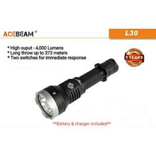 (Free Delivery) ACEBEAM L30 Rechargeable Tactical Flashlight - 4,000 Lumens & 373 Meters Beam Distance