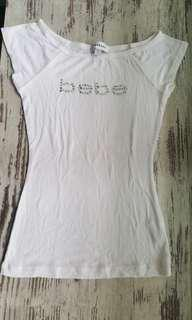 Almost Brand New Authentic BEBE White Top with Swarovski Diamond