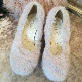Liz Lisa faux fur pastel blue wedge heels shoes