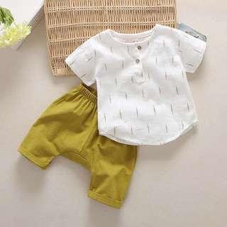 🚚 寶寶套裝-棉麻短袖