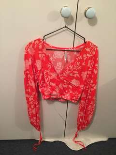 Bright Red paisley floral crop bell sleeve top