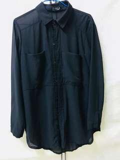 🚚 雪紡長版襯衫 黑