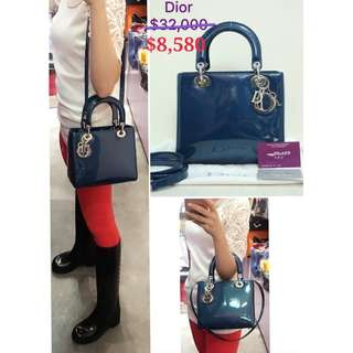 99% New CHRISTIAN DIOR Lady Dior 經典藍色漆皮 配銀色Dior 手挽袋 肩背袋 手袋 Blue Patent with Silver Dior Hardware Handbag