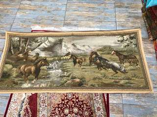 Wall hanging carpet, handmade in Turkey.