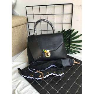 ZARA Sling Black Bag w/ Pineapple and Daisy Flower Design FREE SHIPPING!!!