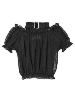 Black netting crop off the shoulder choker top