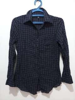 navy blue checkered polo long sleeves