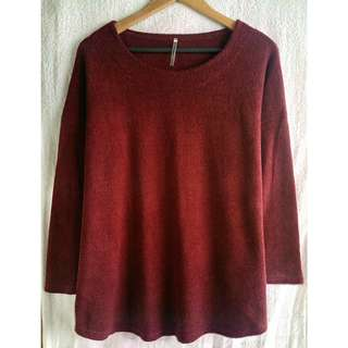 Korean Style Red Wine Knitted Sweater 🌂❄