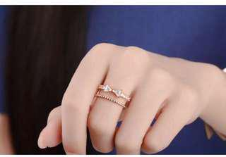 [3 for $10] B216 - Sweet and elegant ring (silver/rose gold)