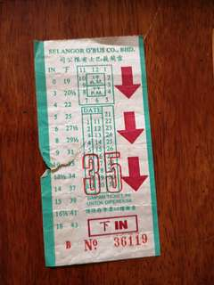 Antique Selangor Bus Ticket