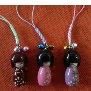Kokeshi dolls cellphone chains with small bells