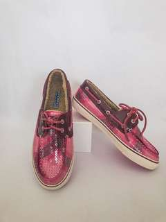 Sperry Pink and Purple Boat Shoes