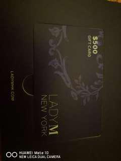 Lady M $500 gift card (valid until 30June18)