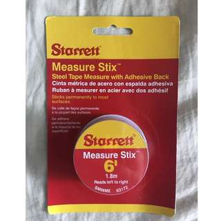Starrett measure stix with adhesive; 6' 1.8meters