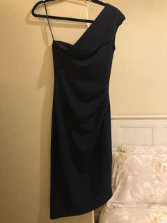 Pilgrim One shoulder navy dress, sz6au, used only once on a birthday.
