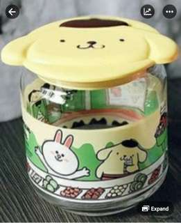 7 Eleven, 7-11 Sanrio Line Friends Glass Container - Pompompurin