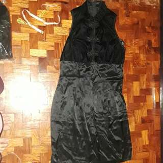 Chinese Collar Black Dress