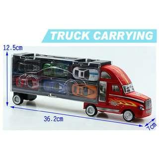 🚚 全新手提貨櫃車組(大台貨車+12台合金車) 價格:299 面交:南勢角 尺寸如圖(小台合金車黑*2+白*2+紅*2+黃*2+藍*2+綠*2+紅大貨車)