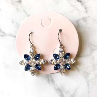 #2bdaysale NEW 韓國 Swarovski Elements 水晶花18K 鍍白金耳環 (Blue/White)