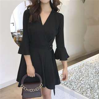 Bell-Sleeve V-Neck Dress