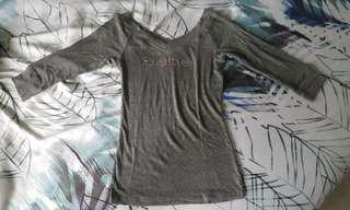 Brand New Authentic BEBE 3/4 Sleeve Grey Top with Swarovski Diamond