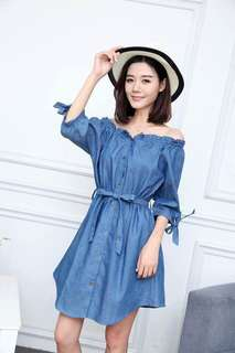 DENIM OFFSHOULDER DRESS JLH