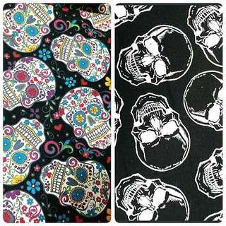 Black Skulls fabric for pouch, pencil case etc