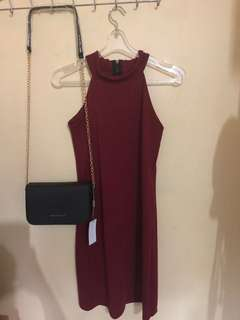 Haltered Dress (Maroon) ❤️