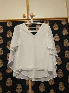 White Blouse Low Back Cape Loose Fit