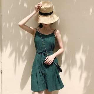INSTOCKS Button down cami dress - dark green