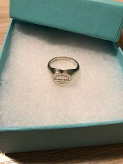 Tiffany & Co Heart Signet Ring (size 5.5) Sterling Silver