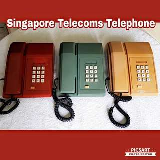 Vintage Singapore Telecomes Button-Type Telephones in Red, Green and Coffee Brown colours. Versatile, they can be desktop or wall-hang. Selling Cheap as non-working display unit. Each $45 or all 3pcs for $88 clearance offer, sms 96337309.