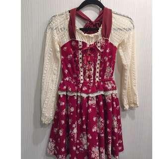 保證正版LIZ LISA紅色蝴蝶結華麗洋裝