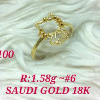 ( size: 6 ) 18K SAUDI GOLD RING ''''.