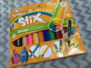 Artline Stix Brush Marker 12 pcs