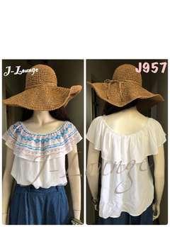 🚚 J957全新美國lily white棉感荷葉兩穿上衣民族風波希米亞多層次浪漫寬鬆渡假海邊(白)blouse J-Lounge