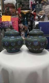古舊景泰藍罐一對