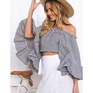 Checkered Flare Off Shoulder Top