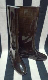 Auth Fendi Tall Rain Boots