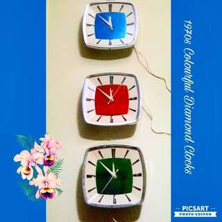 1970s Vintage Diamond Clocks. Rarely Got All 3pcs Brand New Old Stock & Different Colours: Red, Blue & Green. Offer! sms 96337309. UNUSED, Mint Condition. Original, operate on electric. Sell as a set of 3pcs for $360. Sms 96337309.