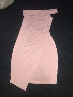Pastel Pink Dress/ Half Wrap Front/ Off shoulder/