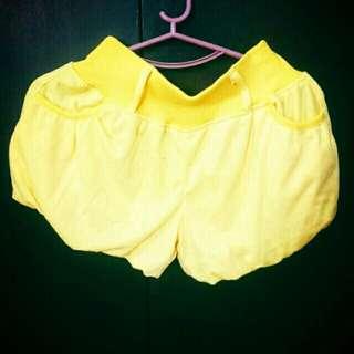 Yellow Pompom Shorts