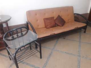 Sofa brass bed with side table