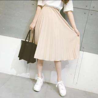 korean ulzzang cream pleated midi skirt
