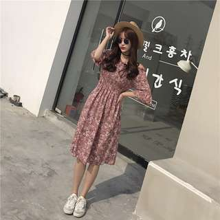 PO Off Shoulder Floral Print Half Sleeve Long Dress 3 Colours Ulzzang