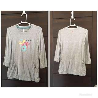 🚚 a la sha 灰色七分袖T恤 S號