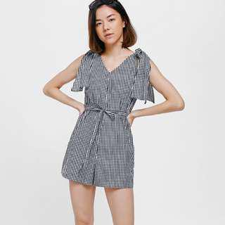 LOVE BONITO Sleanca Gingham Knotted Shoulder Playsuit