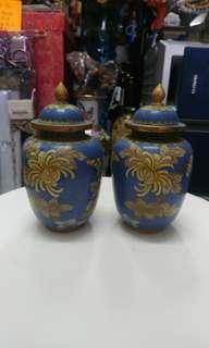 古舊景泰藍小罐一對