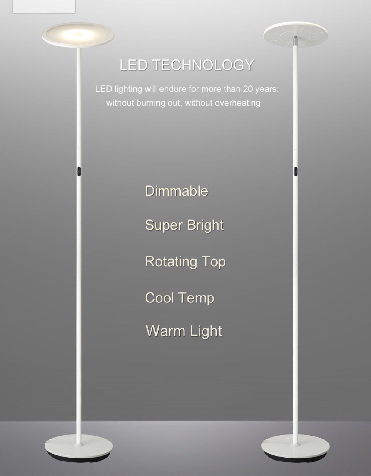 211 Phive Led Floor Lamp Dimmable Super Bright 30w Led Torchiere Floor Lamp 3 Brightness Levels Omni Directional Head Touch Control Warm White Light Modern Uplighter Lamp For Living Room Bedroom